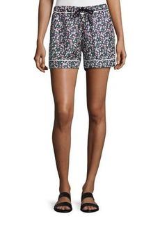Moncler Floral Silk Satin Bermuda Shorts