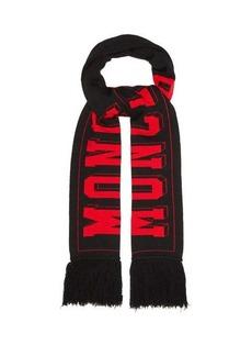 Moncler Football-logo wool-blend scarf