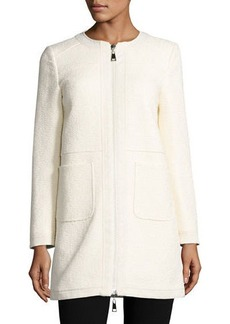 Moncler Freesia Tweed Collarless Reversible Coat