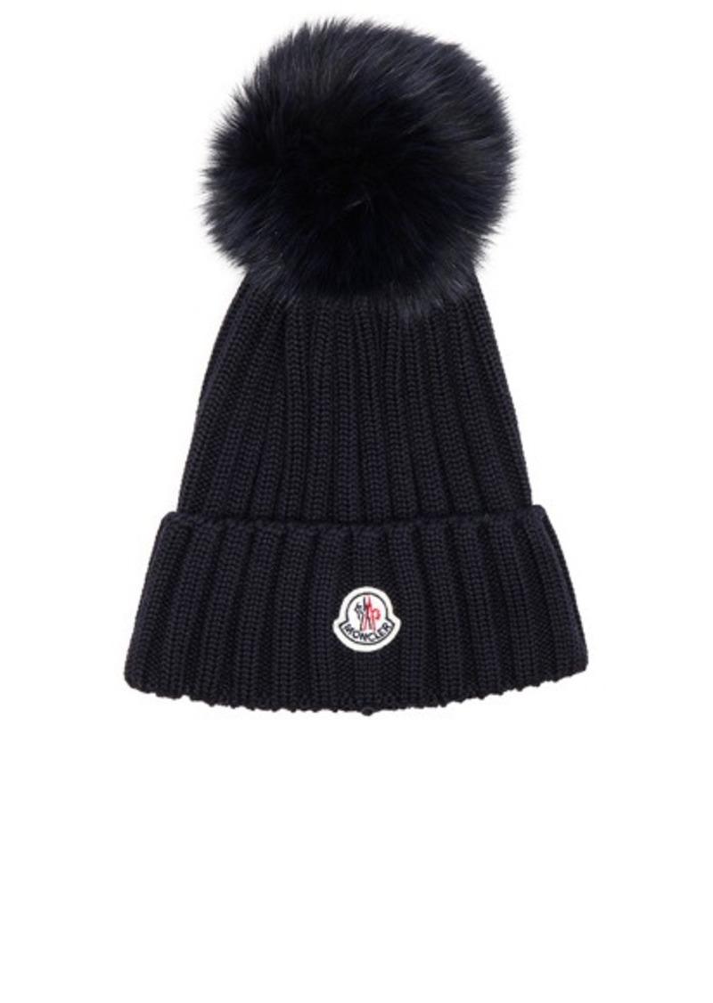 4fa5ff92fd9 Moncler Moncler Fur Pom Ribbed Beanie