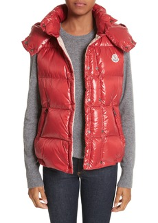 Moncler 'Galene' Water Resistant Shiny Nylon Hooded Down Vest