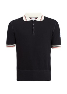 Moncler Contrast-collar waffle-knitted cotton polo shirt