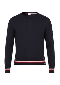 Moncler Contrast-striped cashmere and silk-blend sweater