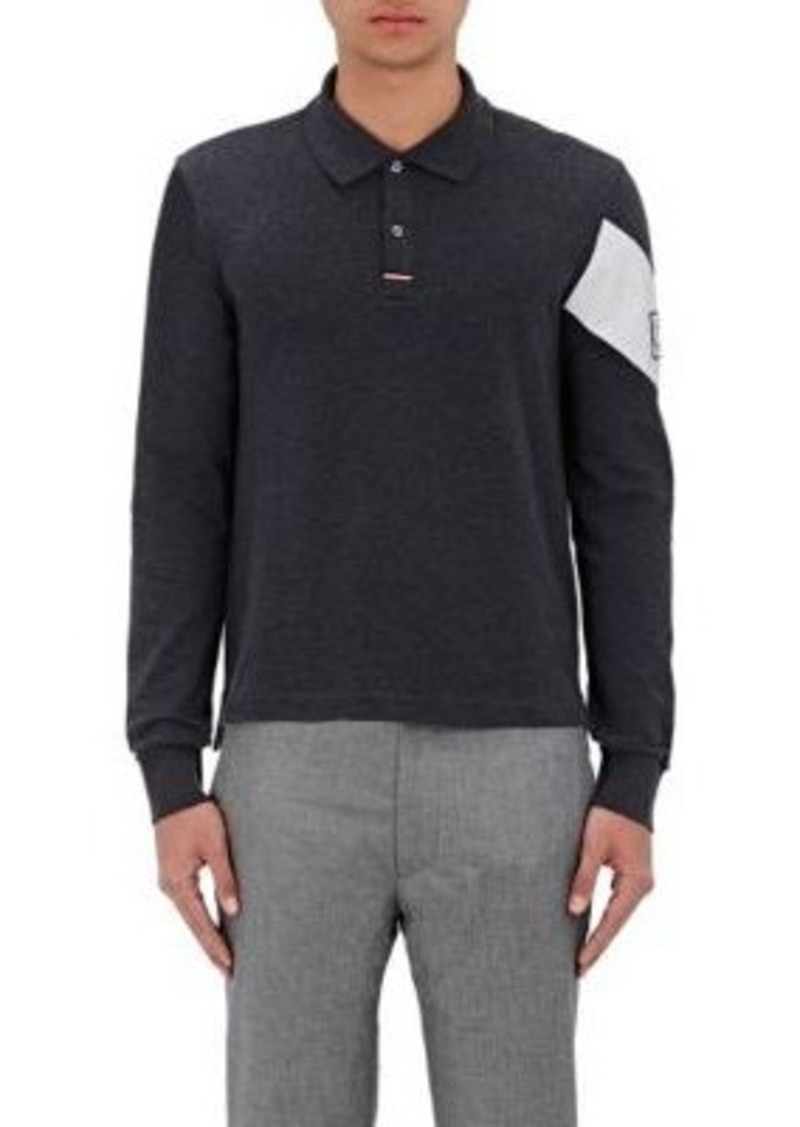 Moncler Gamme Bleu Men's Chevron-Stripe Cotton Piqué Polo Shirt-GREY Size M