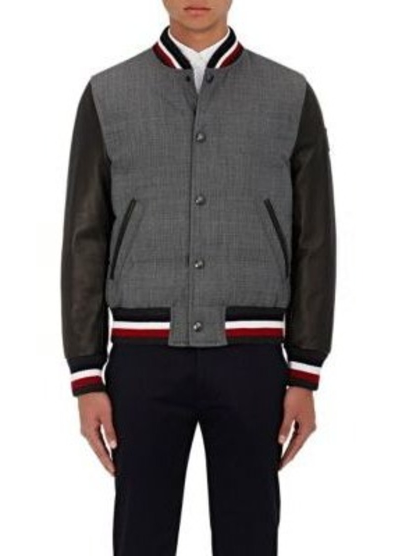 Moncler Gamme Bleu Men's Wool & Leather Down-Quilted Varsity Jacket