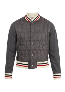 Moncler Striped-trim quilted-panel bomber jacket