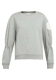 Moncler Gathered-sleeve cotton-blend jersey sweatshirt