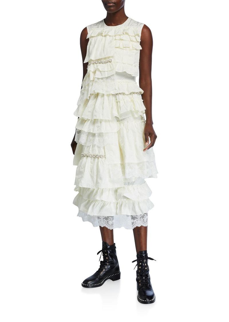 Moncler Genius Sleeveless Ruffle-Embroidered Dress
