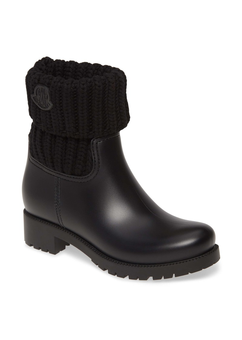 Moncler Ginette Knit Cuff Leather Rain Boot (Women)