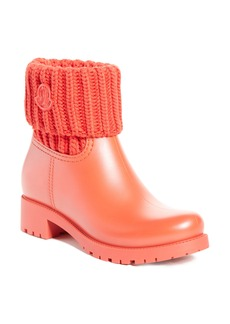 Moncler 'Ginette' Knit Cuff Leather Rain Boot (Women)