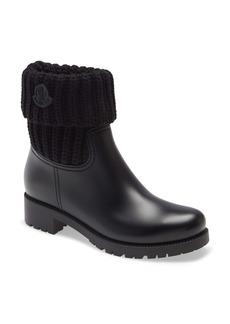 Moncler Ginette Knit Cuff Leather Rain Boot (Women)