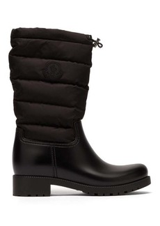 Moncler Ginette padded nylon and leather rain boots
