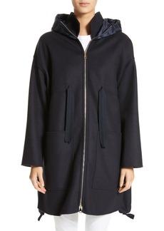 Moncler Grenat Wool & Cashmere Hooded Jacket