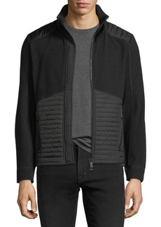Moncler Grenoble Knit Zip-Front Cardigan with Quilted Panels