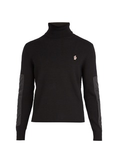 Moncler Grenoble Logo-embroidered roll-neck wool-blend sweater