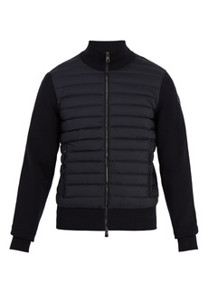 Moncler High-neck contrast-panel quilted-down jacket