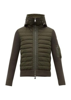 Moncler Hooded quilted and knitted cardigan