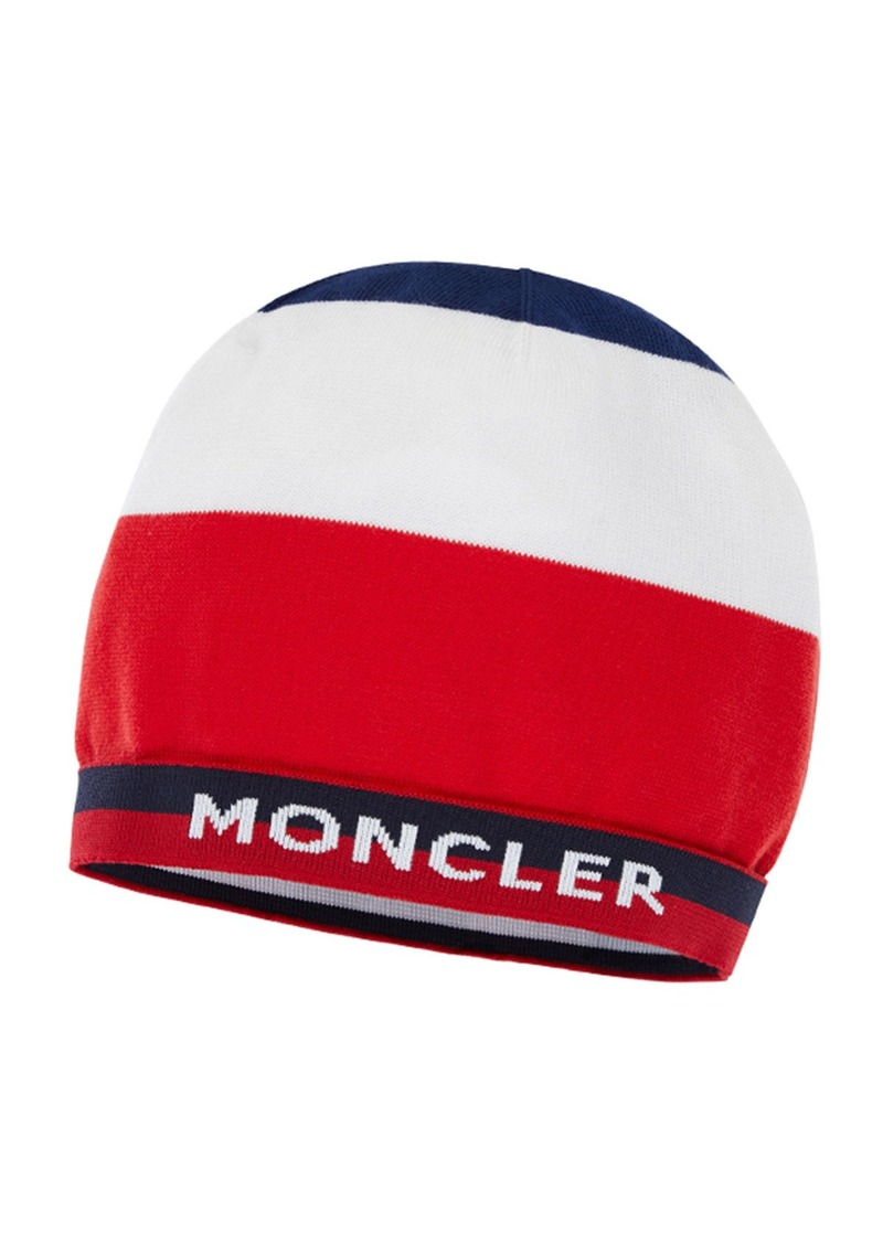 Moncler Kids' Colorblock Logo Band Beanie Hat  Size S-L