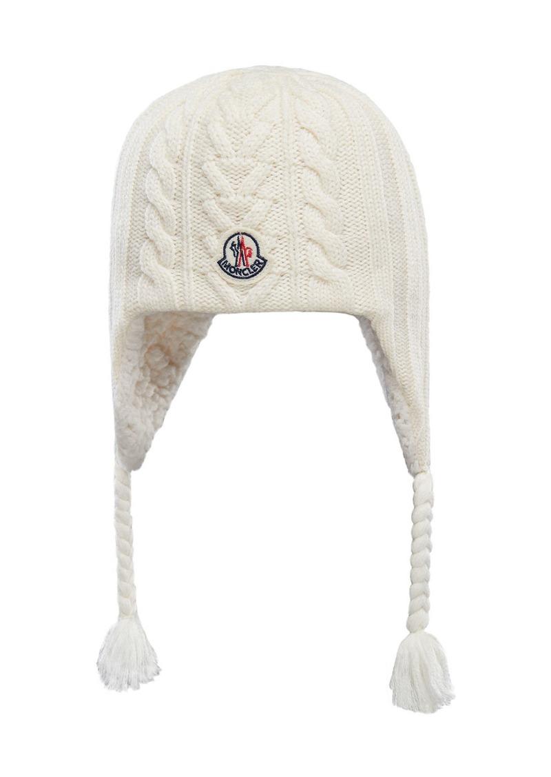 Moncler Kid's Knit Wool Beanie w/ Braid Tassels