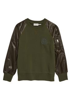 Moncler Kids' Logo Patch Ripstop Sleeve Sweatshirt (Big Boy)