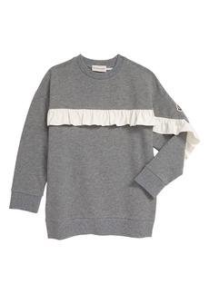 Moncler Kids' Ruffle Detail Heathered Sweatshirt (Little Girl & Big Girl)