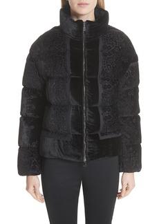 Moncler Labbe Velvet Puffer Coat