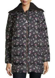 Moncler Laburnum Quilted Floral-Print Coat