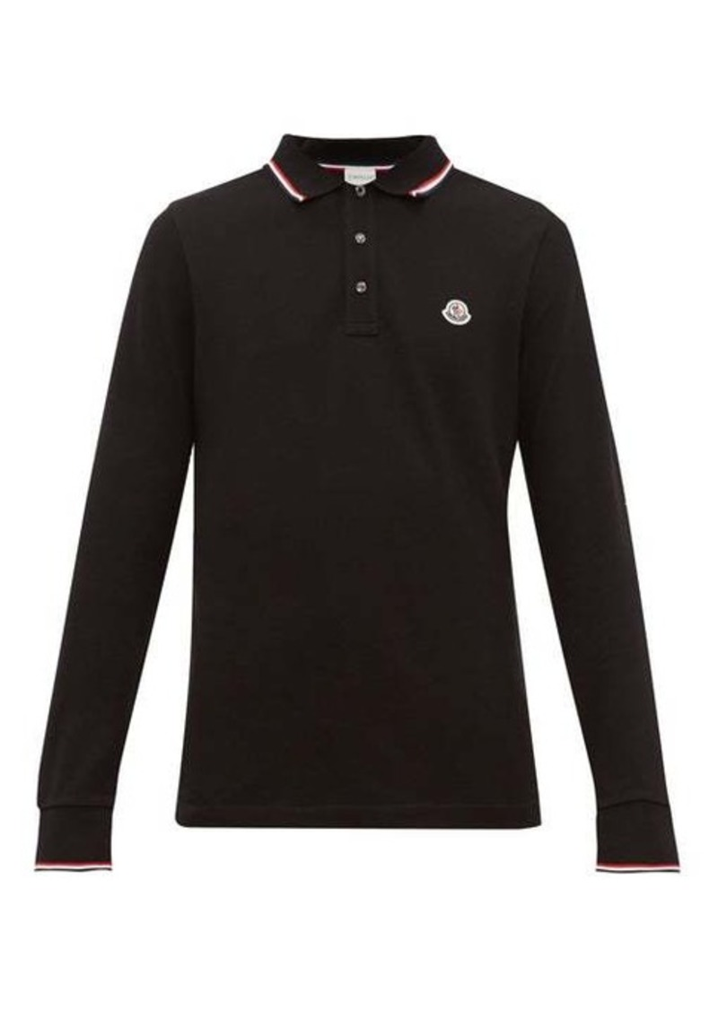 Moncler Logo-appliqué cotton-piqué long-sleeve polo shirt