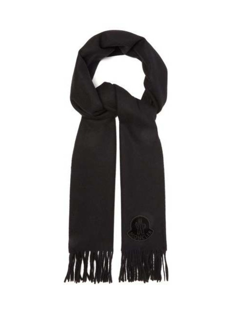 Moncler Logo-appliqué fringed wool scarf