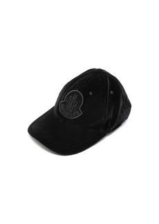 Moncler Logo-embroidered velvet cap