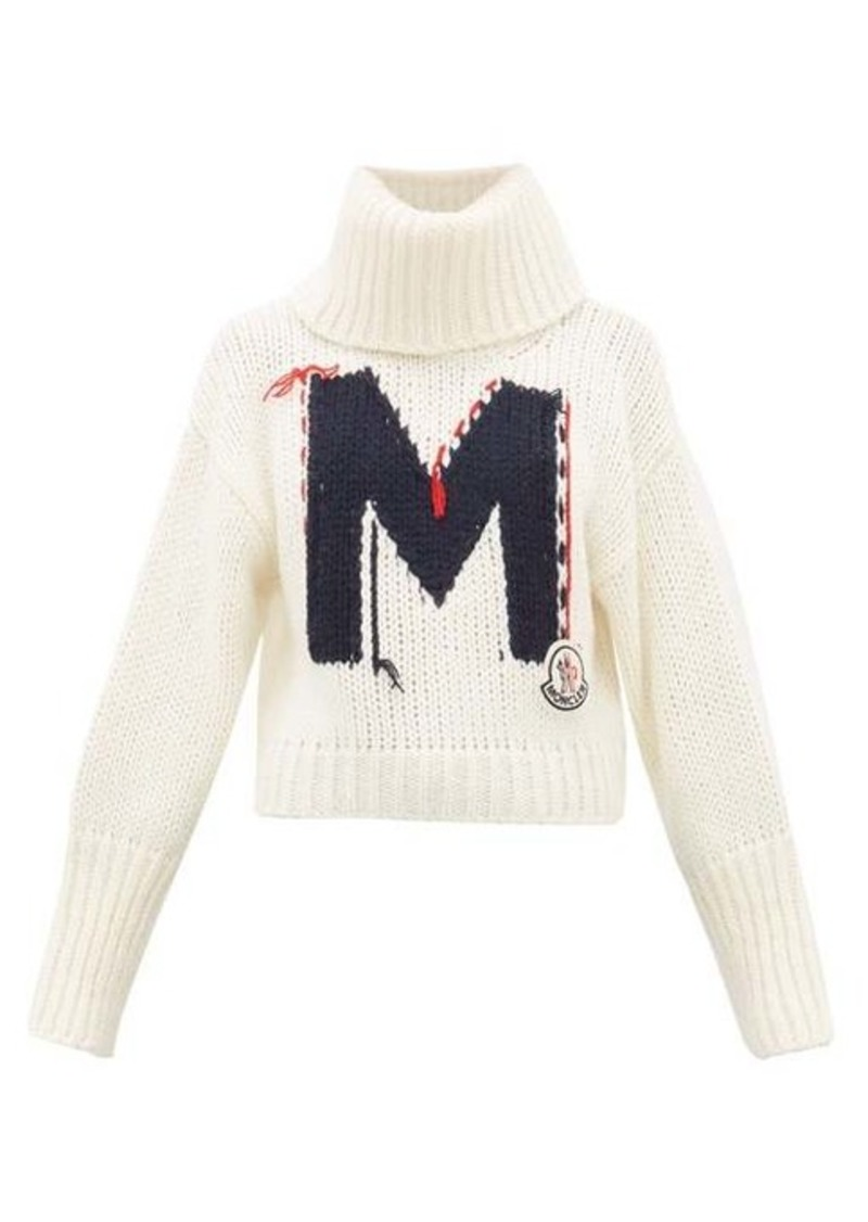 Moncler Logo-jacquard chunky-knit roll-neck sweater