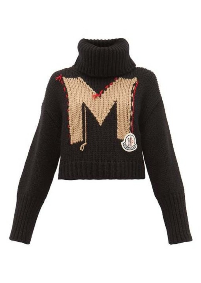 Moncler Logo-jacquard roll-neck chunky-knit sweater