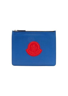 Moncler Logo-patch leather pouch