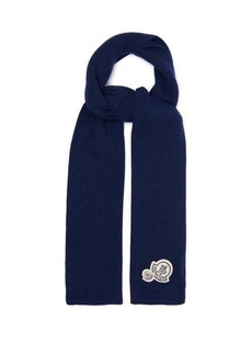 Moncler Logo-patch wool-blend ribbed scarf