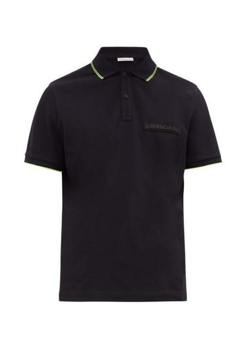 Moncler Logo-plaque cotton-piqué polo shirt