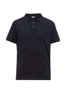 Moncler Logo-print striped undercollar cotton polo shirt