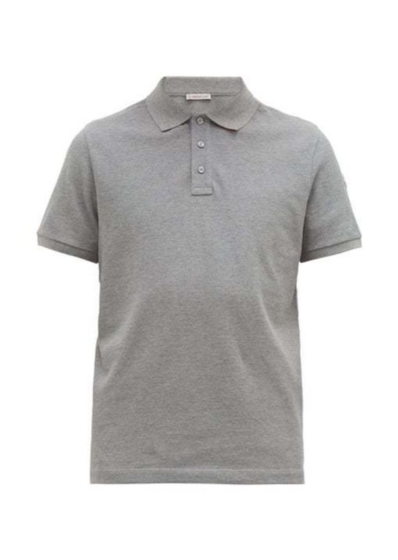 Moncler Logo-print striped undercollar cotton polo shirt