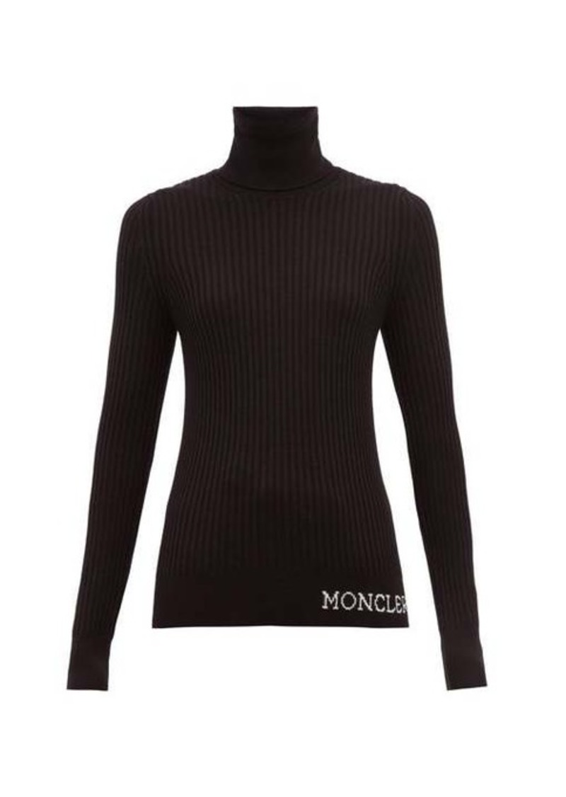 Moncler Logo ribbed roll-neck wool sweater