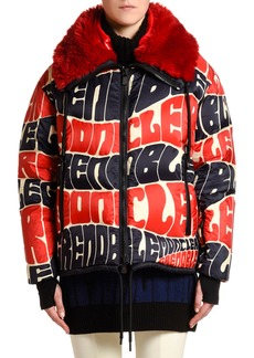 Moncler Logo Text Puffer Jacket w/ Faux Fur