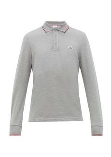 Moncler Long-sleeve cotton-piqué polo shirt