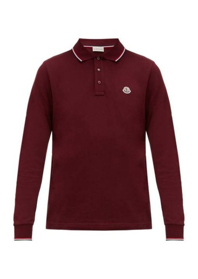 Moncler Long-sleeve cotton-piqué polo shirt