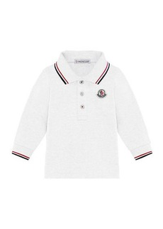 Moncler Long-Sleeve Polo Shirt w/ Tricolor Tipping  Size 12M-3