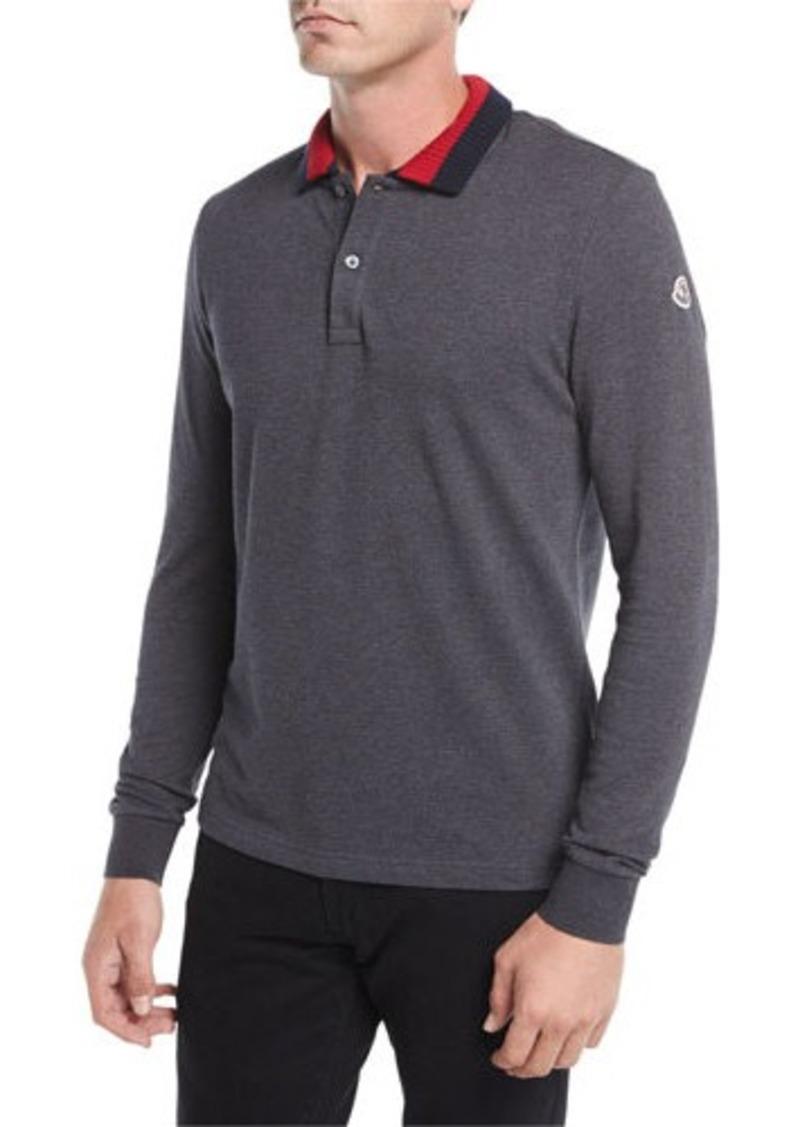 Moncler Moncler Long Sleeve Ribbed Collar Polo Shirt