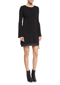 Moncler Long-Sleeve Sweater Dress W/ Drawstring Hem