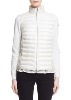 Moncler 'Maglia' Flutter Hem Mixed Media Down Jacket