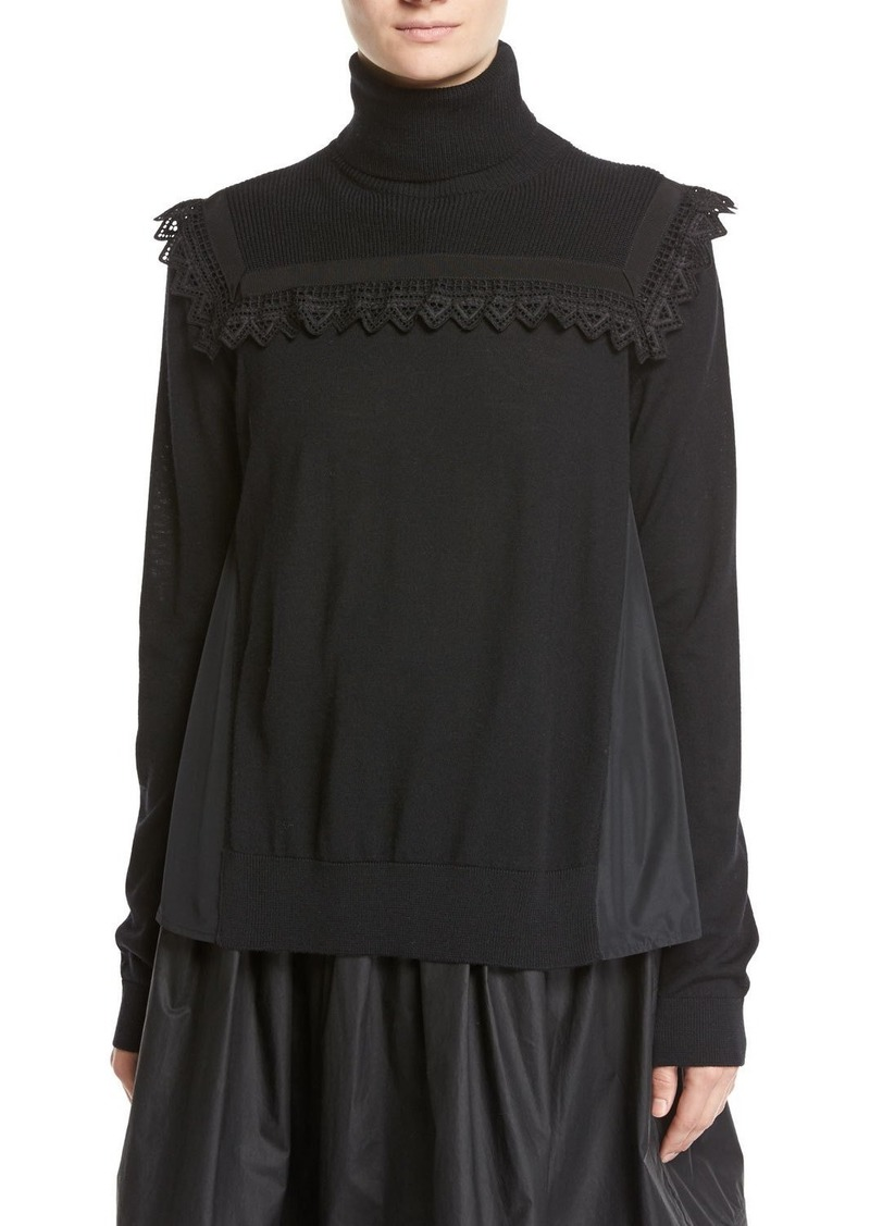 Moncler Maglia Mixed-Media Turtleneck Sweater W/ Lace Detail