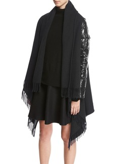Moncler Mantella Combo Fringe Cape W/ Puffer Sleeves