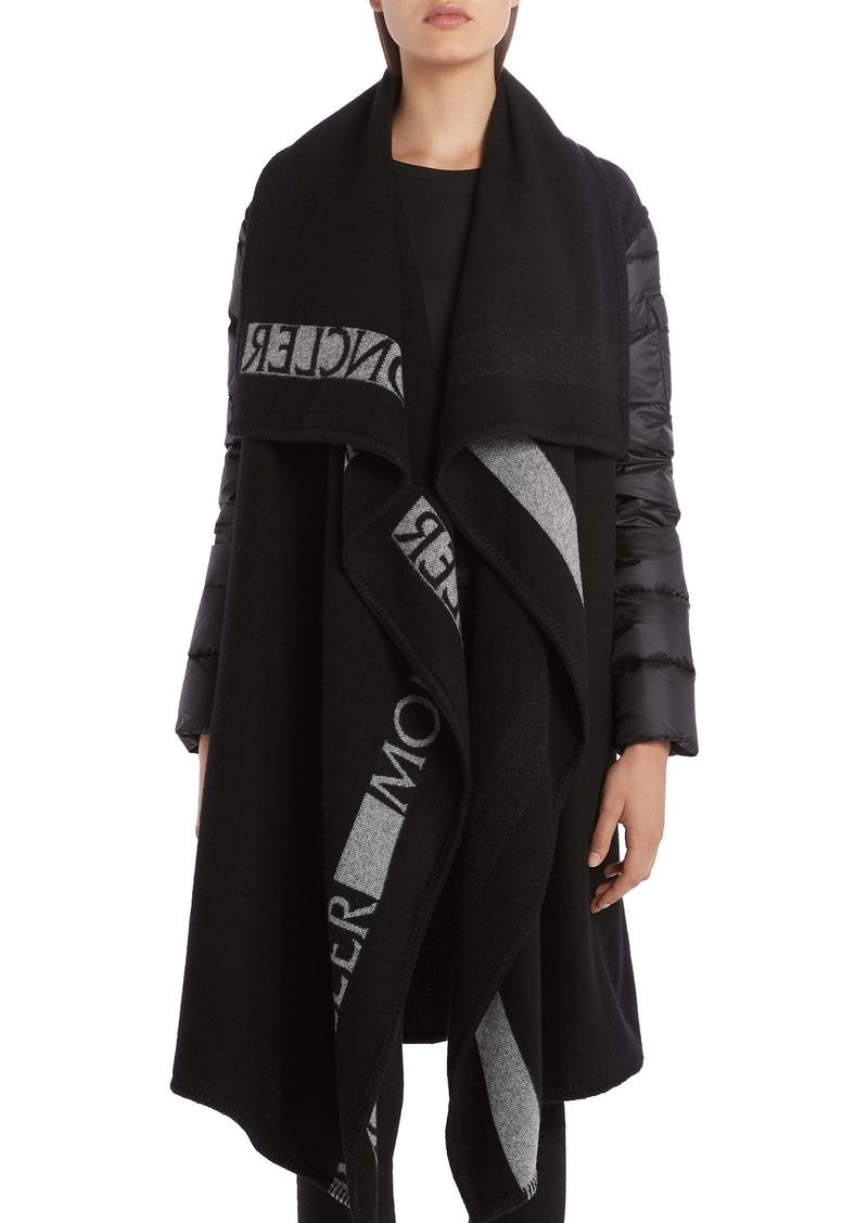 Moncler Mantella Down Puffer Sleeve & Wool Cape Coat