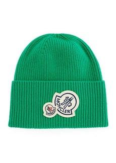Moncler Men's Double-Patch Cuffed Beanie Hat
