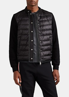 Moncler Men's Down-Quilted Cotton Zip-Front Sweater